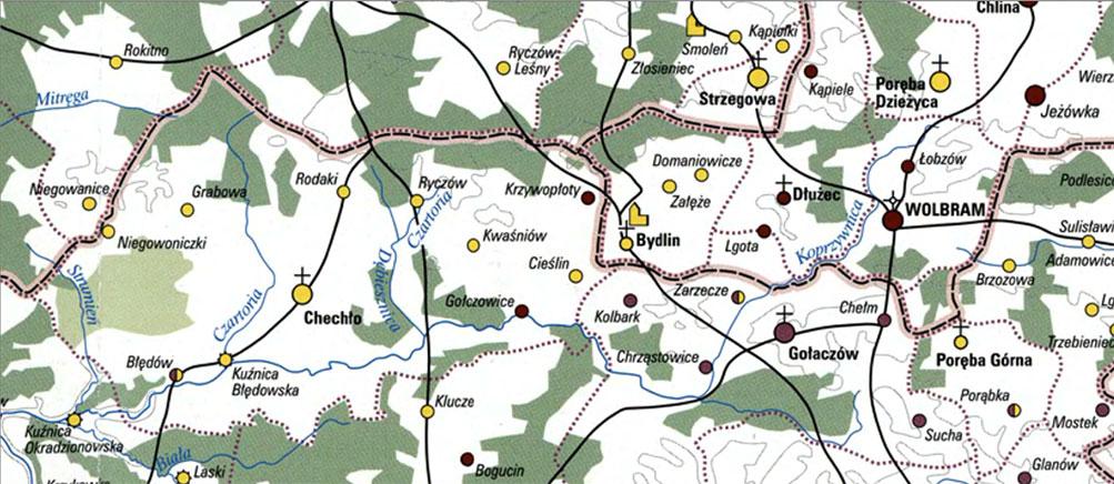 Cieślin na mapie województwa krakowskiego z II połowy XVI wieku (fragment).
