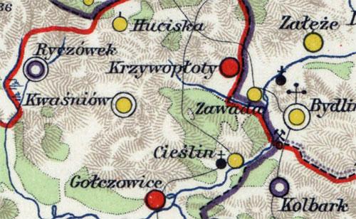 Mapa województwa krakowskiego w dobie sejmu czteroletniego 1788 – 1792 (fragment z zaznaczoną kaplicą drewnianą w Cieślinie).
