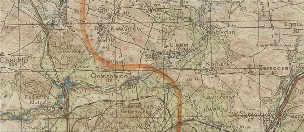 Mapa niemiecka z 1944 roku (pas Żarki – Jędrzejów – Olkusz – Miechów) z zaznaczoną granicą pomiędzy Generalną Gubernią i Rzeszą (fragment).