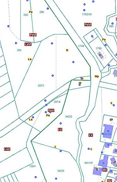 Przebieg granicy pomiędzy obszarami wsi Cieślin i Bydlin (CB/2).