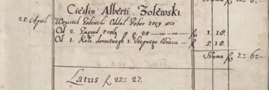 Rejestr poborowy województwa krakowskiego z roku 1629 (fragment rękopisu odnoszący się do wsi Cieślin).