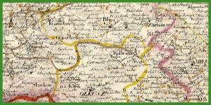 """""""Mappa jeneralna woiewodztwa krakowskiego wraz z okręgiem Wolnego Miasta Krakowa ułożona według nayłepszych źródeł przez Juliusza Colberg"""" (1827)."""