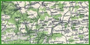 """""""Ravensteins Kriegskarte no 8 Polen südliche Hälfte gegen Schlesien und Österreich"""" (1915)."""