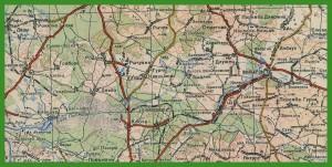 """""""Генеральный Штаб Рабоче-Крестьянской Красной Армии 1:200 000 (лист x4)"""" (1945)."""
