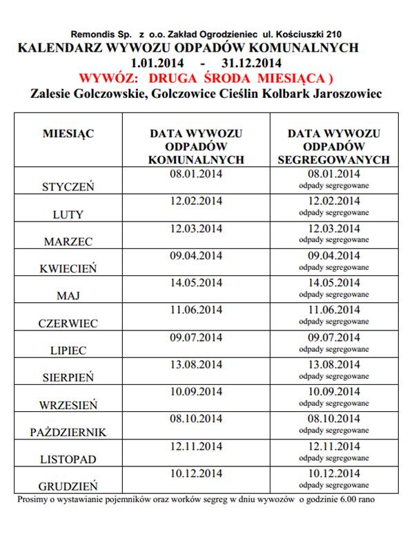 Kalendarz wywozu odpadów komunalnych w 2014 r.