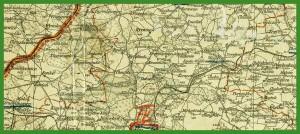 """""""Kaiserlich Deutsches Generalgouvernement Warschau mit dem angrenzenden K.u.K. Millitärgeneralgouvernement in Polen"""" (1916)."""
