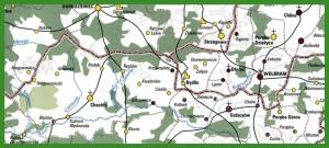 """""""Województwo krakowskie w drugiej połowie XVI wieku (mapa główna) – część północna""""."""