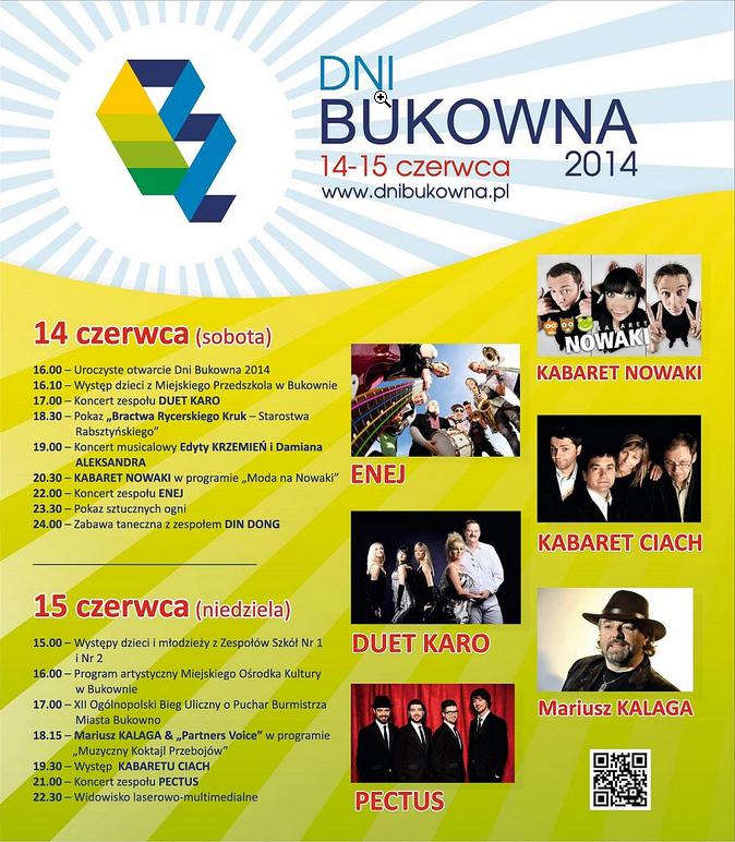 """Dni Bukowna - 2014"" (plakat zapraszajacy)."