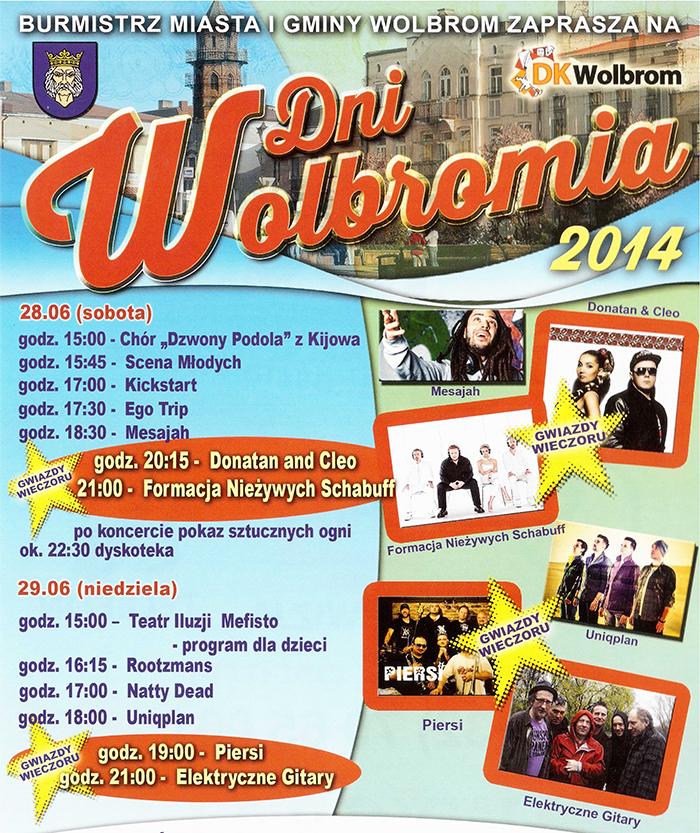 """""""Dni Wolbromia - 2014"""" (plakat zapraszający)."""