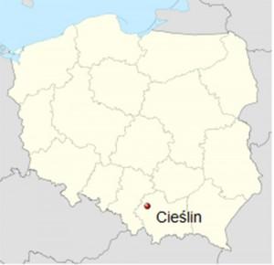 Położenie Cieślina na mapie Polski.