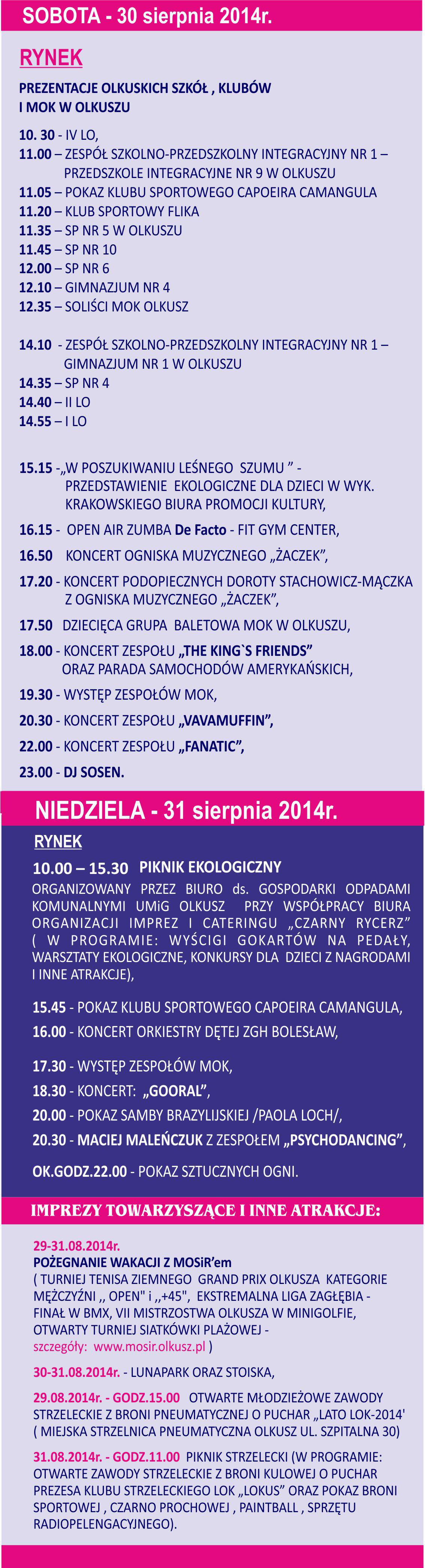 """""""Dni Olkusza 2014"""" (plakat)."""