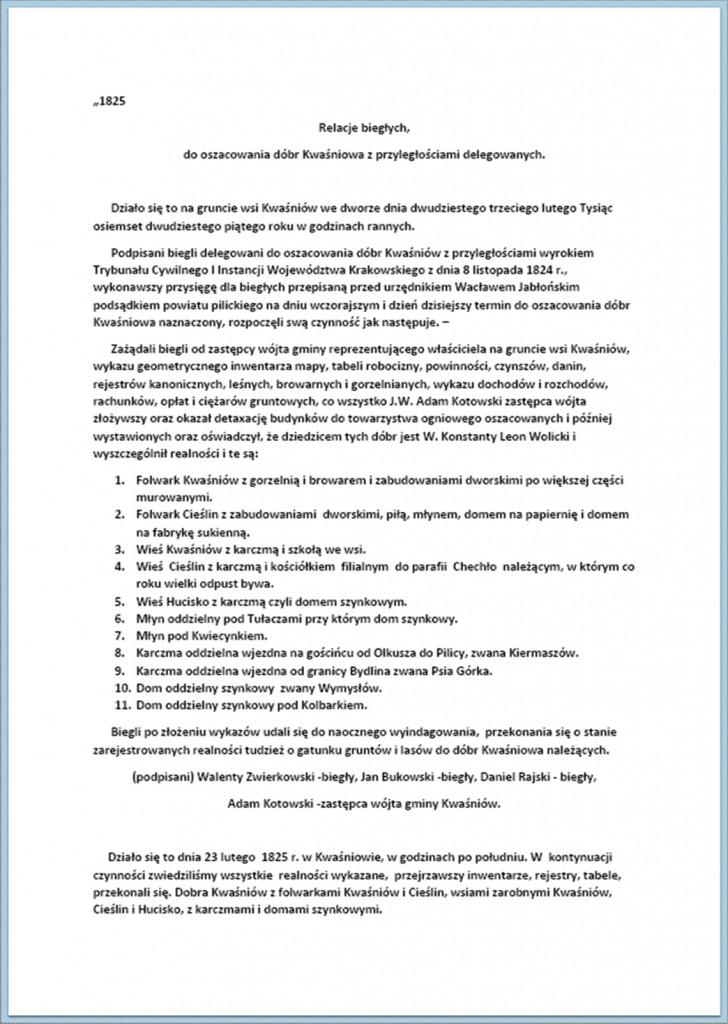 Relacje biegłych, do oszacowania dóbr Kwaśniowa z przyległościami delegowanych (1).