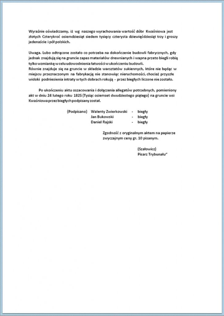 Relacje biegłych, do oszacowania dóbr Kwaśniowa z przyległościami delegowanych (10).