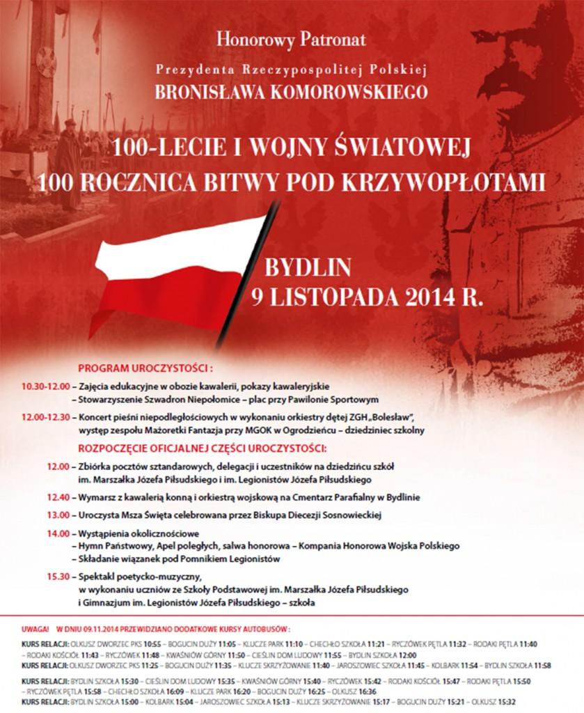 Bydlin - 100 rocznica Bitwy pod Krzywopłotami (plakat zapraszajacy).