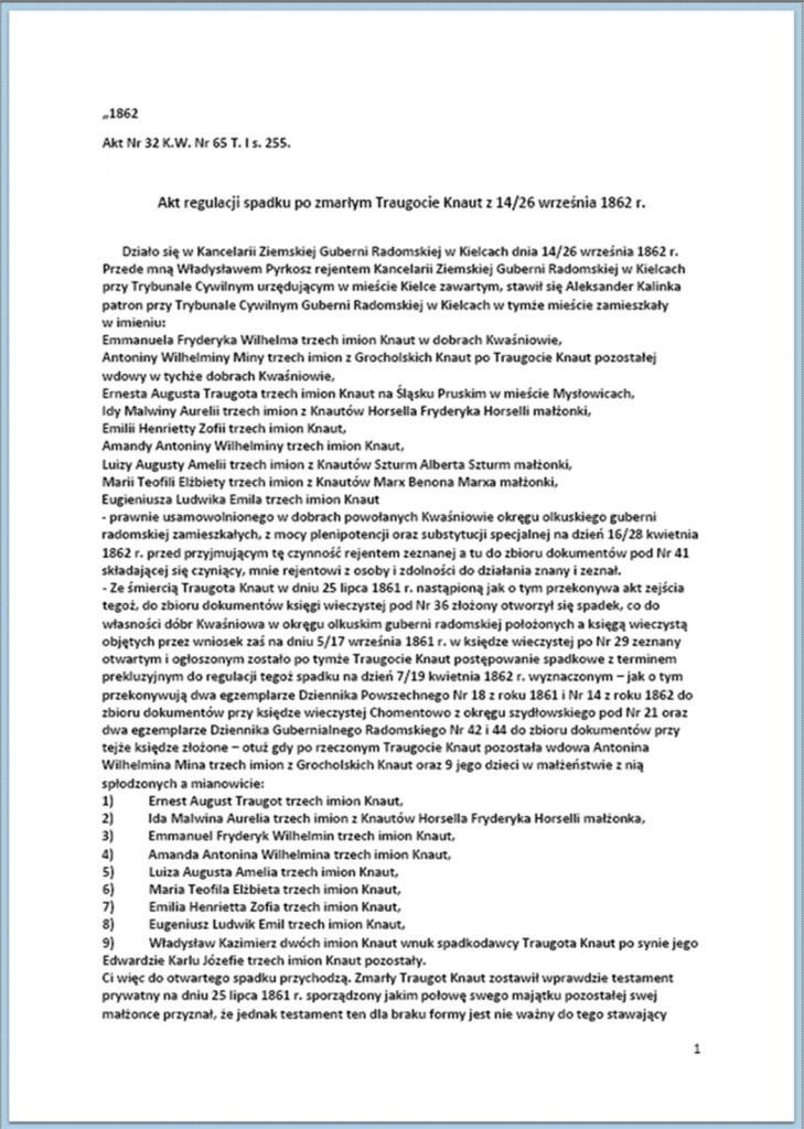 Akt regulacji spadku po zmarłym Traugocie Knaut z 14/26 września 1862 r. (1).