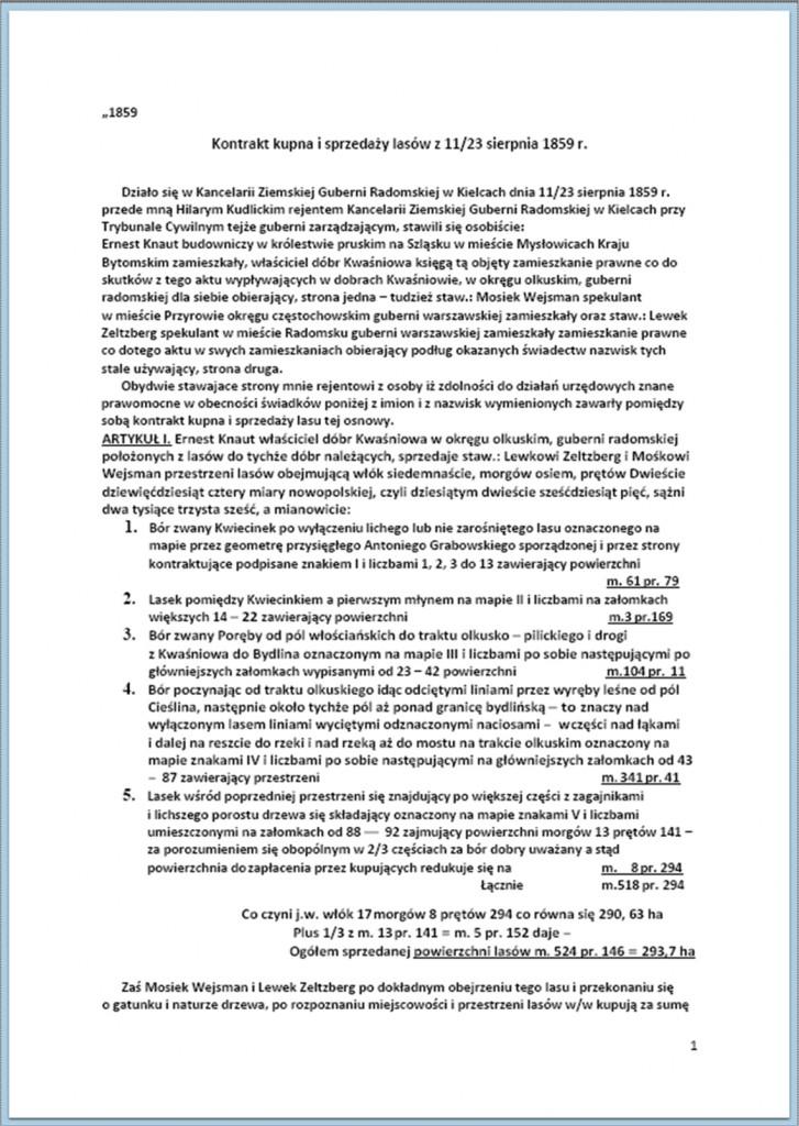Kontrakt kupna i sprzedaży lasów - 11/23.08.1859 r. (1).