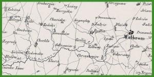 """""""Mappa dróg żelaznych: Warszawsko-Wiedeńskiej i Krakowskiej z okolicami : na szerokość 8 do 9 mil [Arkusz 3]"""" (1850)."""