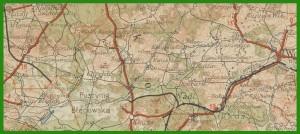 """""""Polska: mapa woj. łódzkiego, kieleckiego, śląskiego, krakowskiego i (częściowo) Niemiec. Skala 1:300 000"""" (1935)."""