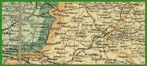 Mapa Królestwa Polskiego z granicami gmin i uwzględnieniem granic g. Chełmskiej (1915).