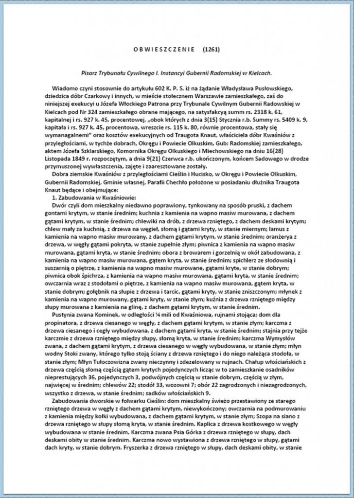 Obwieszczenie o licytacji wraz z jej rozstrzygnięciem w dniu 14/26.11.1850 r.(1)