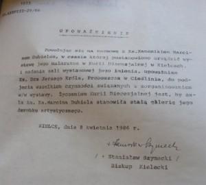 Upoważnienie ks. Jerzego Króla do zorganizowania wystawy obrazów ks. Marcina Dubiela w Kurii Diecezjanej w Kielcach - 08.04.1986 r.