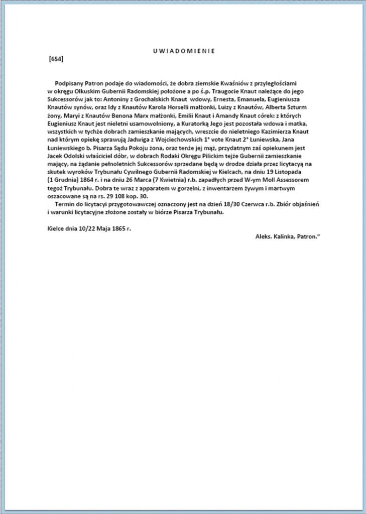 Uwiadomienie o sprzedaży Dóbr Kwaśniowa z dnia 10/22.05.1865 r.