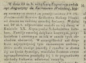 Nekrolog po śmierci Augustyny Wolickiej w dniu 18.06.1829 r. (2) (Kurier Warszawski nr 169 z 1829 r.).