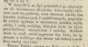 Nekrolog po śmierci Augustyny Wolickiej w dniu 18.06.1829 r. (Kurier Warszawski nr 163 z 1829 r.).