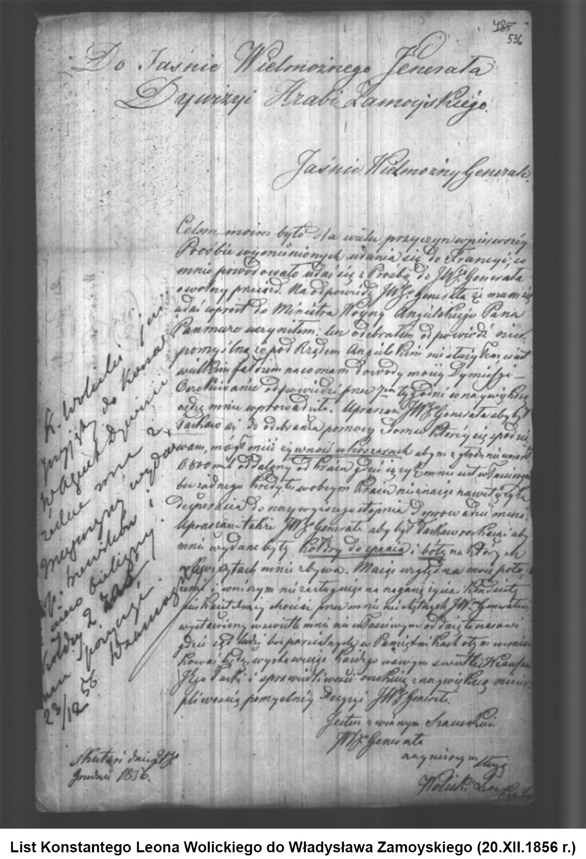 List Konstantego Leona Wolickiego do Władysława Zamoyskiego (20.XII.1856 r.)