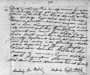 Akt zgonu Jana Nepomucena Wolickiego w dniu 09.09.1847 r. (Akt stanu cywilnego Parafii Rzymskokatolickiej pw. św. Andrzeja w Warszawie).