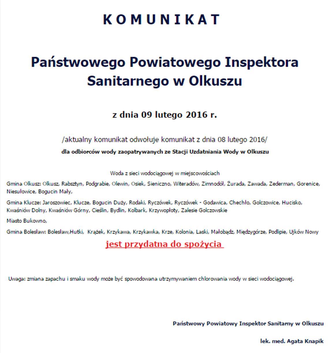 Komunikat Państwowego Powiatowego Inspektora Sanitarnego w Olkuszu z dnia 09 lutego 2016 r.