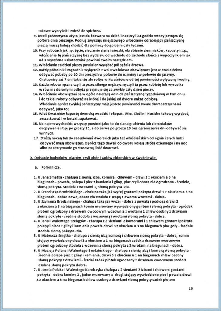 Protokół Zajęcia Dóbr Kwaśniów z przyległościami Cieślin i Hucisko na sprzedaż do przymusowego wywłaszczenia - 27.02/11.03.1837 r. (19)