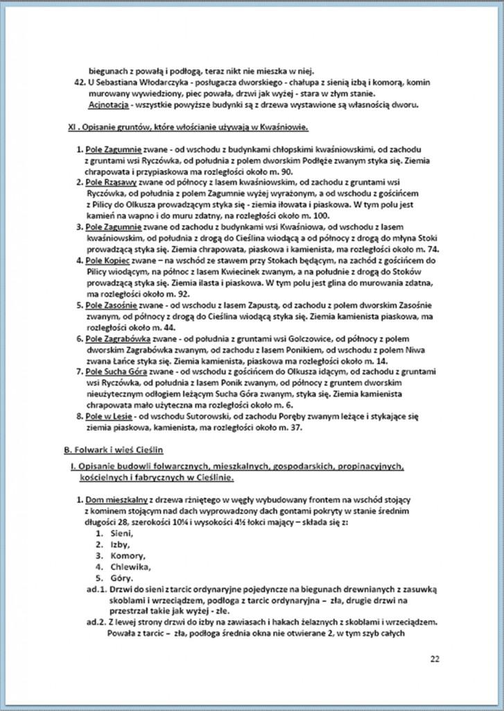 Protokół Zajęcia Dóbr Kwaśniów z przyległościami Cieślin i Hucisko na sprzedaż do przymusowego wywłaszczenia - 27.02/11.03.1837 r. (22)