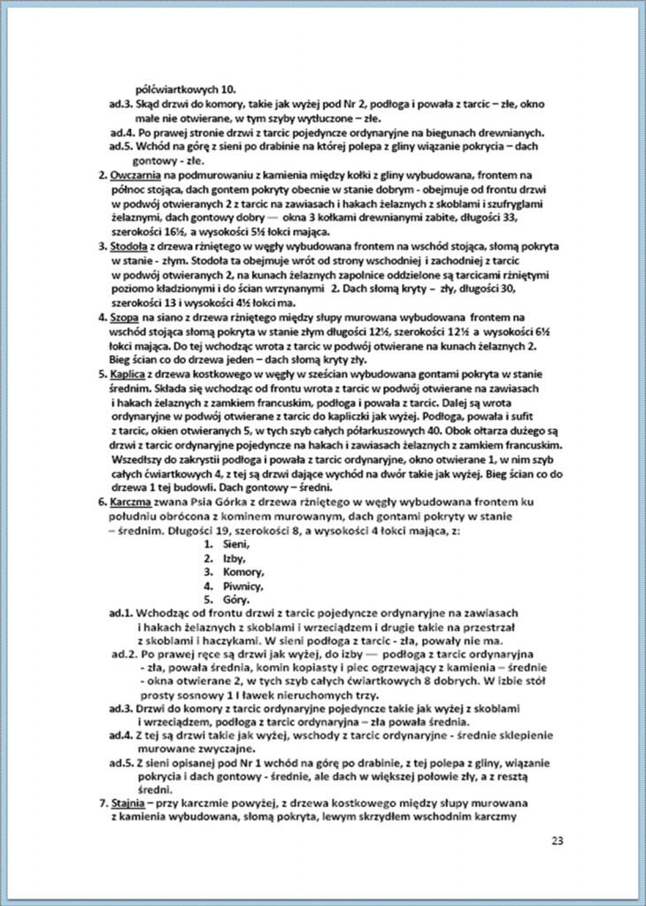 Protokół Zajęcia Dóbr Kwaśniów z przyległościami Cieślin i Hucisko na sprzedaż do przymusowego wywłaszczenia - 27.02/11.03.1837 r. (23)