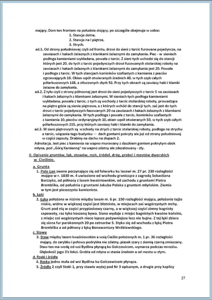 Protokół Zajęcia Dóbr Kwaśniów z przyległościami Cieślin i Hucisko na sprzedaż do przymusowego wywłaszczenia - 27.02/11.03.1837 r. (27)