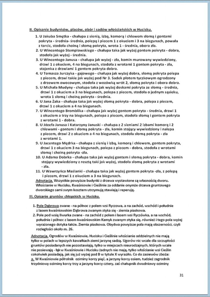 Protokół Zajęcia Dóbr Kwaśniów z przyległościami Cieślin i Hucisko na sprzedaż do przymusowego wywłaszczenia - 27.02/11.03.1837 r. (31)