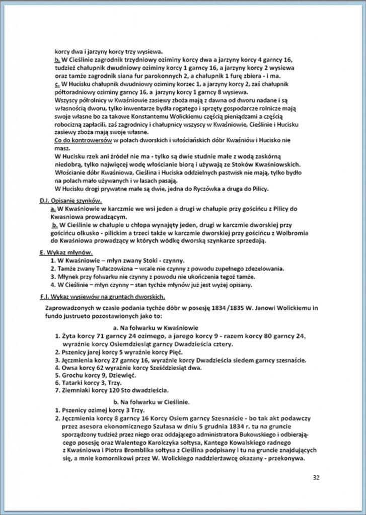 Protokół Zajęcia Dóbr Kwaśniów z przyległościami Cieślin i Hucisko na sprzedaż do przymusowego wywłaszczenia - 27.02/11.03.1837 r. (32)