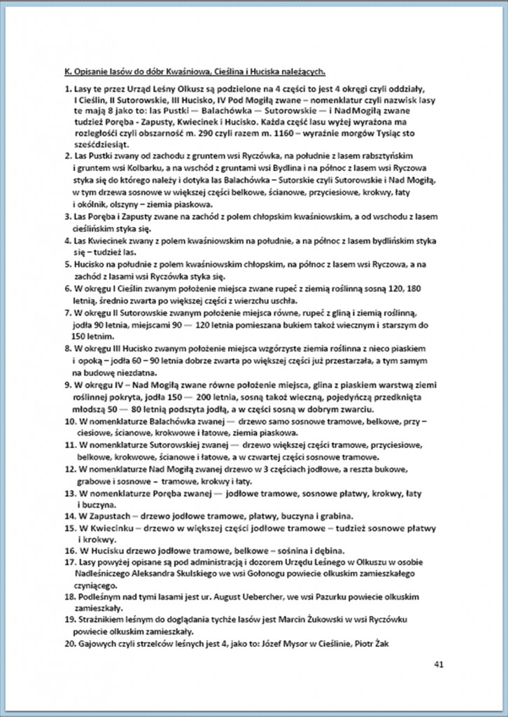 Protokół Zajęcia Dóbr Kwaśniów z przyległościami Cieślin i Hucisko na sprzedaż do przymusowego wywłaszczenia - 27.02/11.03.1837 r. (41)