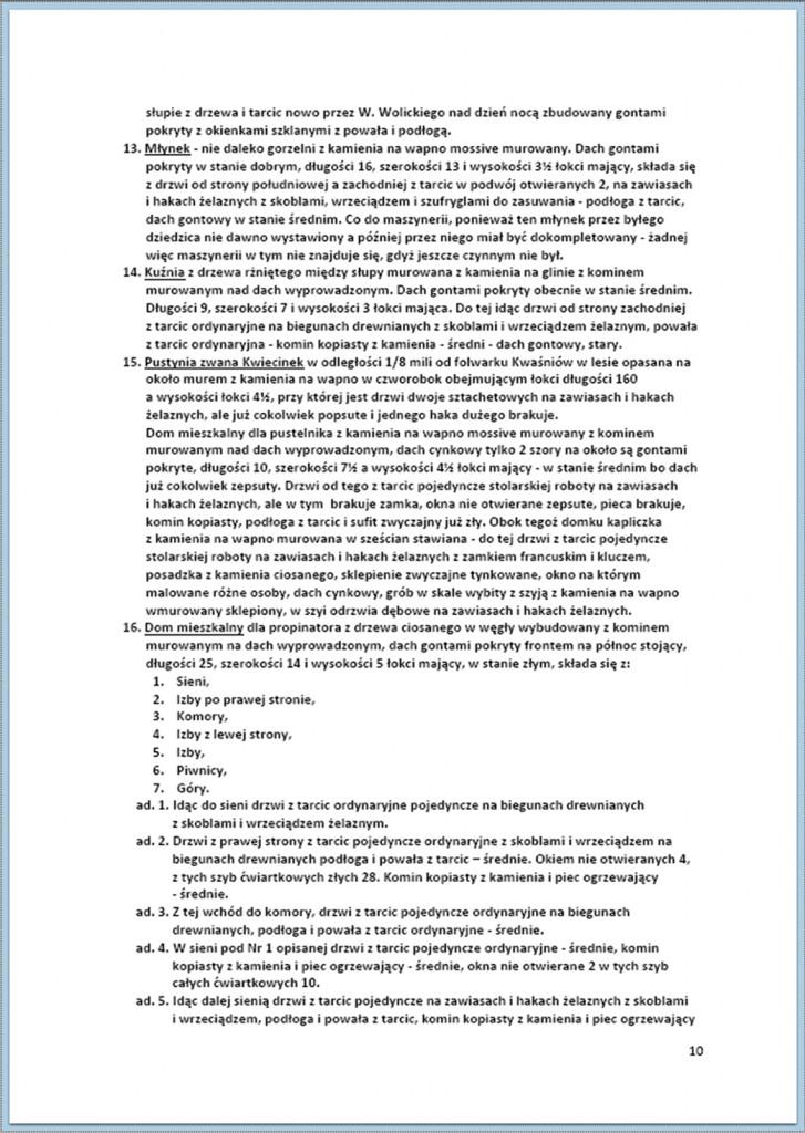 Protokół Zajęcia Dóbr Kwaśniów z przyległościami Cieślin i Hucisko na sprzedaż do przymusowego wywłaszczenia - 27.02./11.03.1837 r. (10)