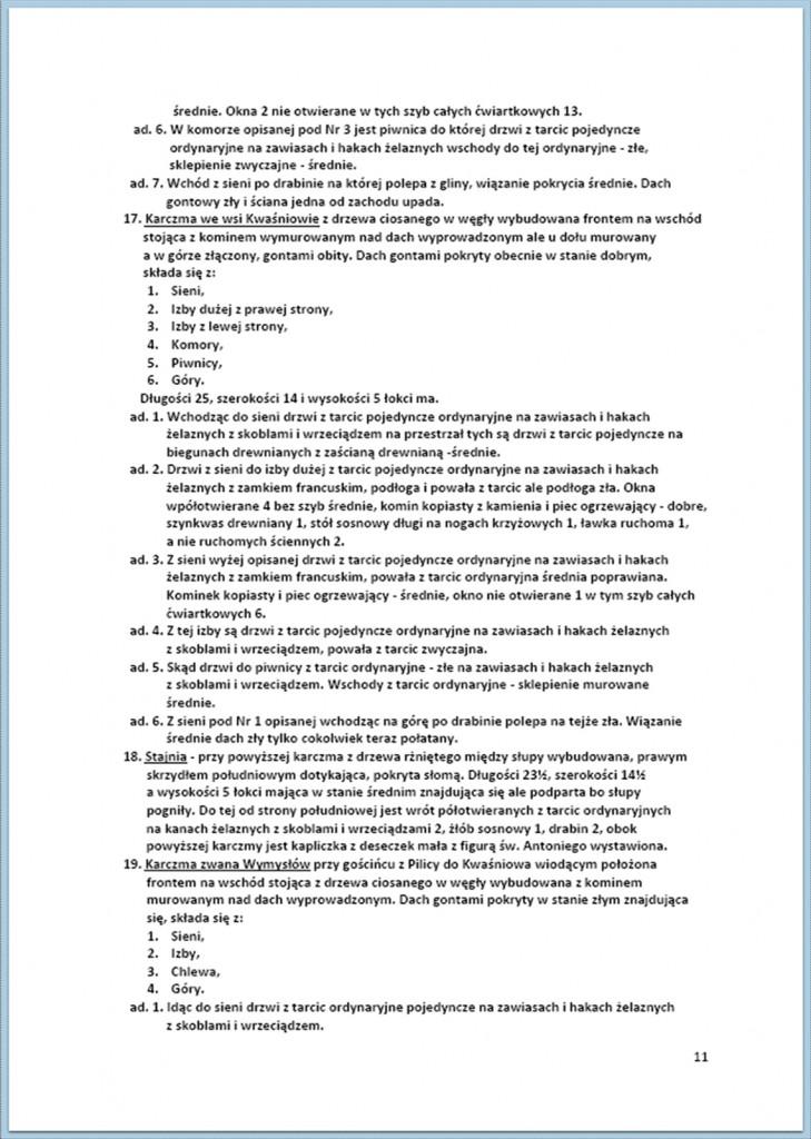 Protokół Zajęcia Dóbr Kwaśniów z przyległościami Cieślin i Hucisko na sprzedaż do przymusowego wywłaszczenia - 27.02./11.03.1837 r. (11)
