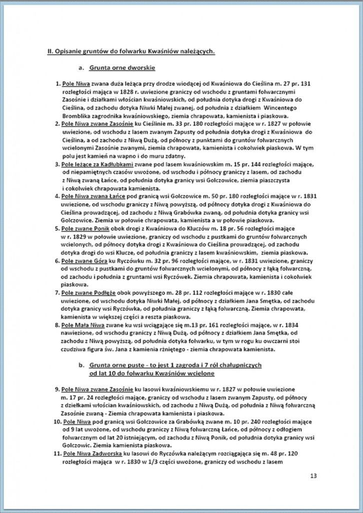Protokół Zajęcia Dóbr Kwaśniów z przyległościami Cieślin i Hucisko na sprzedaż do przymusowego wywłaszczenia - 27.02/11.03.1837 r. (13)