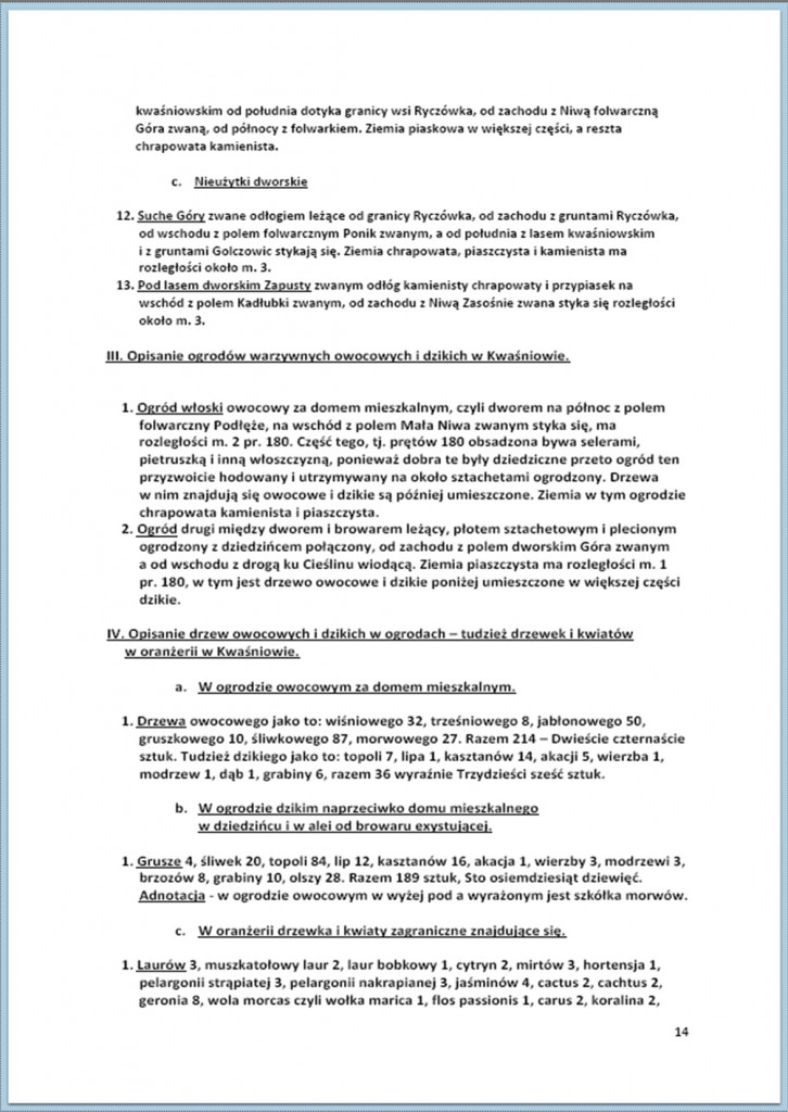 Protokół Zajęcia Dóbr Kwaśniów z przyległościami Cieślin i Hucisko na sprzedaż do przymusowego wywłaszczenia - 27.02/11.03.1837 r. (14)
