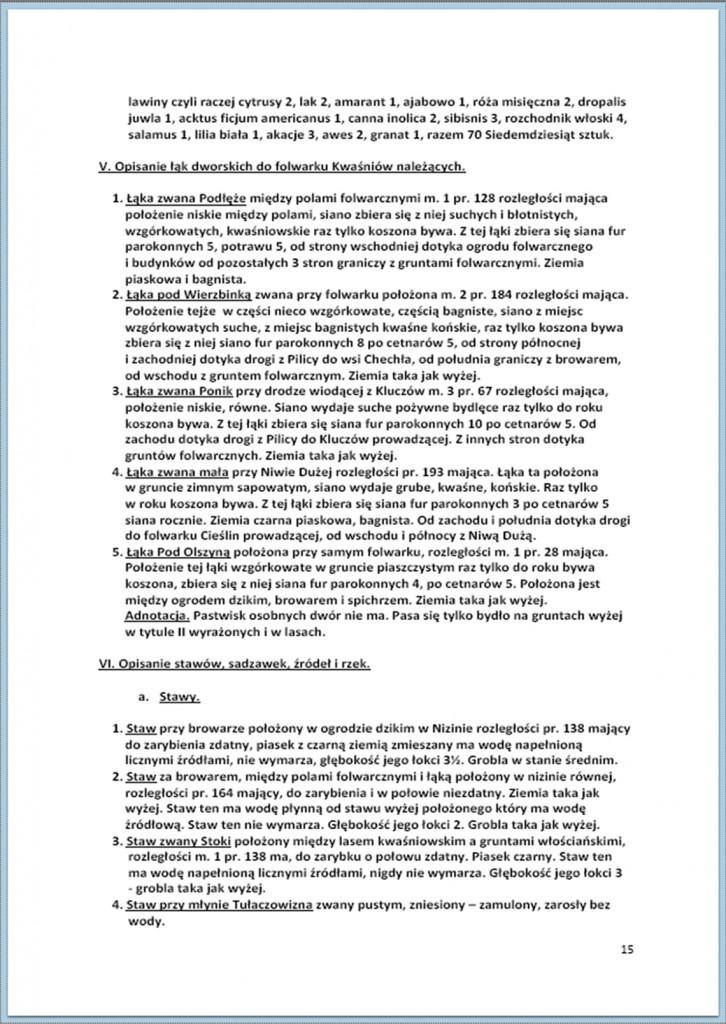 Protokół Zajęcia Dóbr Kwaśniów z przyległościami Cieślin i Hucisko na sprzedaż do przymusowego wywłaszczenia - 27.02/11.03.1837 r. (15)