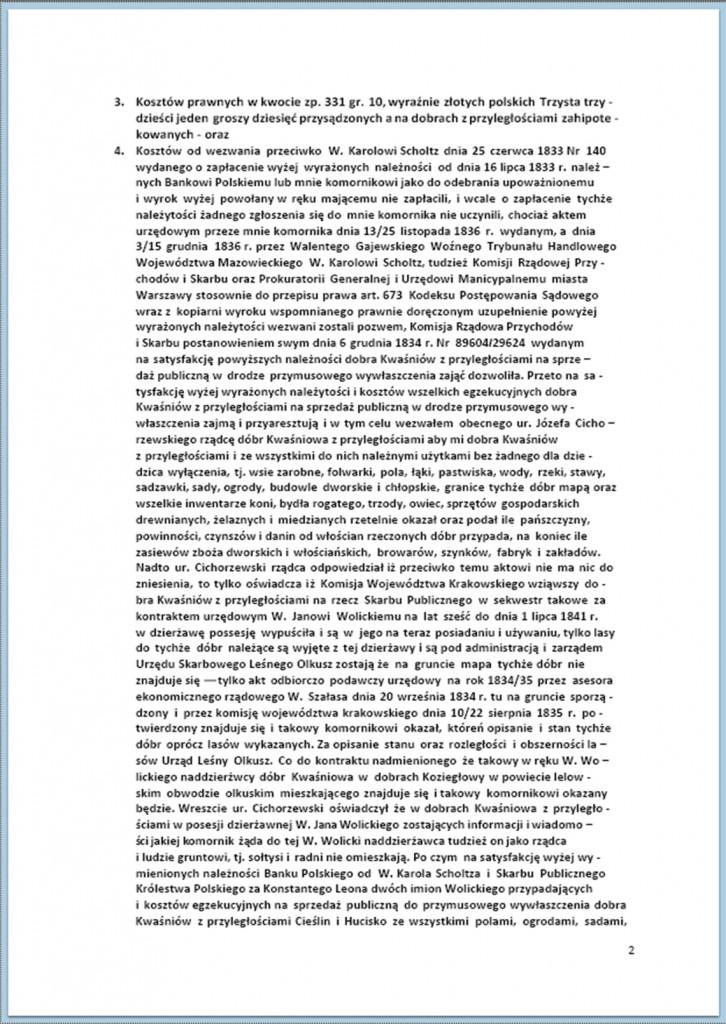 Protokół Zajęcia Dóbr Kwaśniów z przyległościami Cieślin i Hucisko na sprzedaż do przymusowego wywłaszczenia - 27.02./11.03.1837 r. (2)