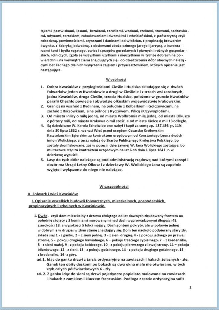 Protokół Zajęcia Dóbr Kwaśniów z przyległościami Cieślin i Hucisko na sprzedaż do przymusowego wywłaszczenia - 27.02./11.03.1837 r. (3)