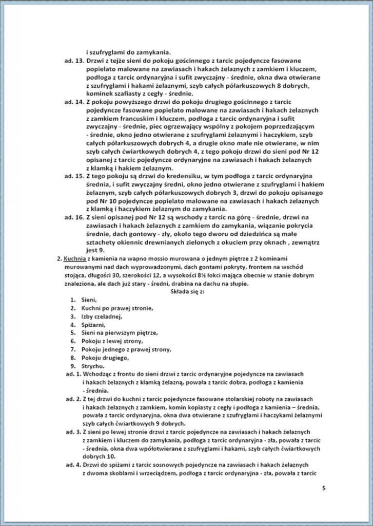 Protokół Zajęcia Dóbr Kwaśniów z przyległościami Cieślin i Hucisko na sprzedaż do przymusowego wywłaszczenia - 27.02./11.03.1837 r. (5)