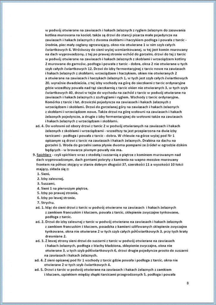 Protokół Zajęcia Dóbr Kwaśniów z przyległościami Cieślin i Hucisko na sprzedaż do przymusowego wywłaszczenia - 27.02./11.03.1837 r. (8)
