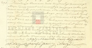 Akt zgonu Konstantego Leona Wolickiegp w dniu 23.09.1861 r. (Akt stanu cywilnego Parafii Rzymskokatolickiej pw. Nawiedzenia NMP w Warszawie)