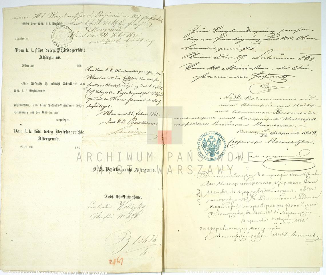 Akt zgonu Konstantego Leona Wolickiegp w dniu 23.09.1861 r. (zał. nr 4)