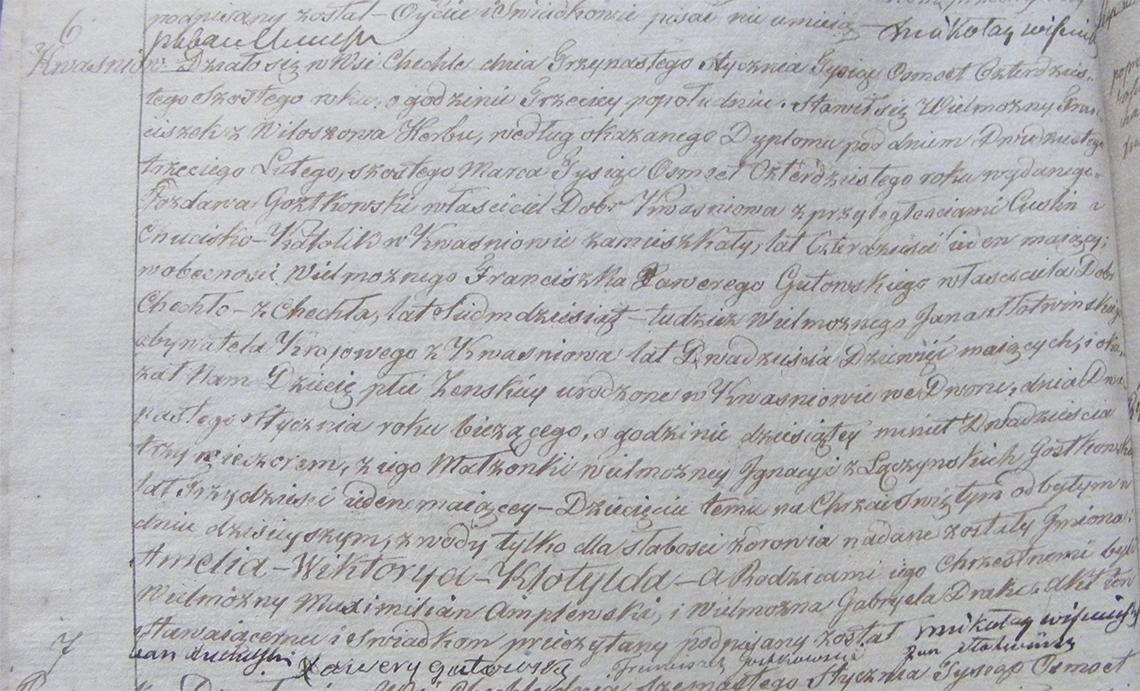 Akt urodzenia Amelii Wiktoryi Klotyldy Gostkowskiej 12.01.1846 r.